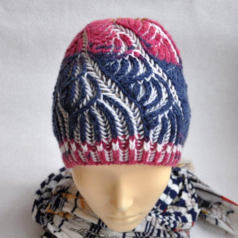 Brioche stitch Hat. Brioche knitting. Womens blue Knit Cap.  d4805e04a19