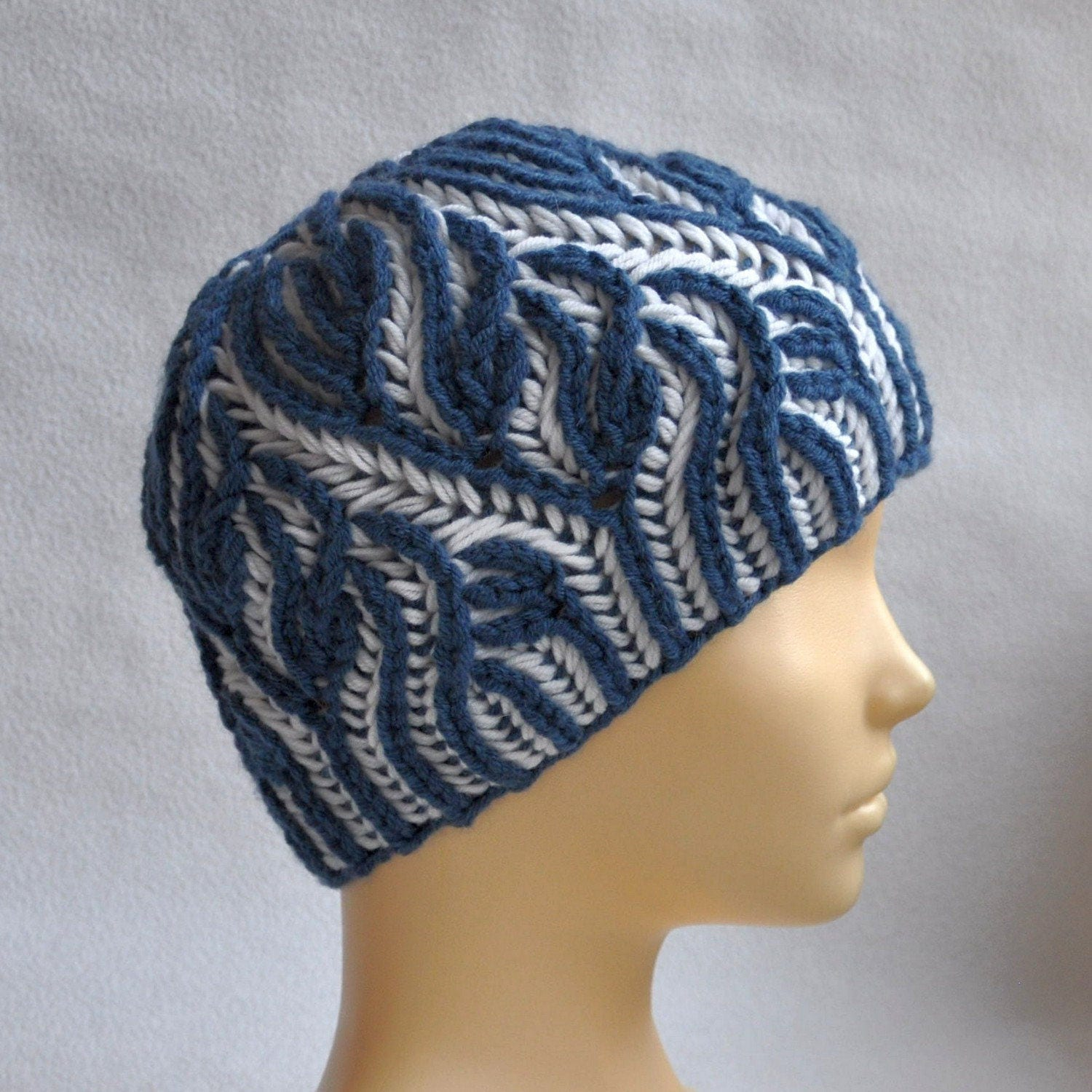 Knitting Pattern Brioche. Hat Brioche stitch. Scheme beanie in the ...