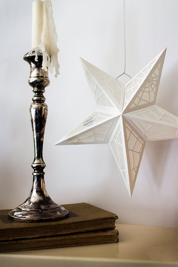 paper star lantern w spider web cutouts svg cutting file pdf etsy