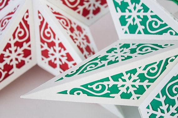 3D Folding Star Lantern with leaf design template