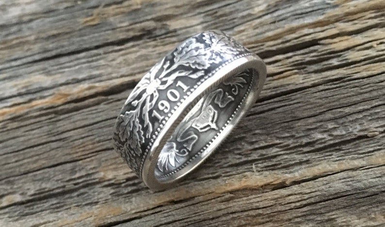 Handcrafted German 1 Mark coin ring 90/% silver