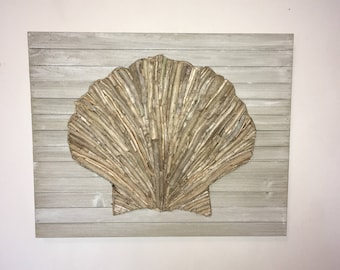 Handmade Driftwood Wall Art Scallop Seashell On Pallet Board: Beach Driftwood  Decor Beach Wall Art