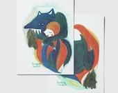 """Lot de 4 cartes """"Loup"""""""
