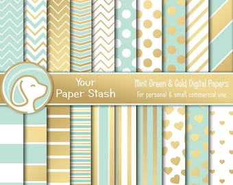 Mint Green   Gold Digital Paper With Chevrons Stripes Polka Dots and  Hearts 4aeaf44bea07b