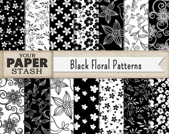 Floral digital paper black white flowers vintage flowers hand floral digital paper black white black floral flower digital paper pack scrapbook paper printable commercial use download mightylinksfo