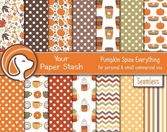 Fall Pumpkin Spice Digital Scrapbook Papers for Halloween and Thanksgiving, Autumn Digital Paper Commercial Use Instant Download / PS101
