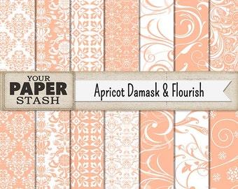 Peach Damask Digital Paper, Apricot Scrapbook Paper, Flourish, Elegant Wedding Backgrounds, Planner Paper, Instant Download, Commercial Use