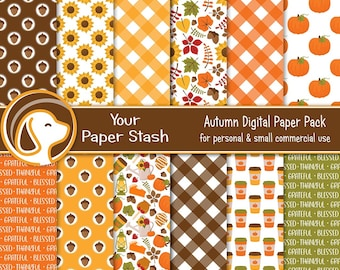 Autumn Digital Scrapbook Papers and Backgrounds, Pumpkin Spice Gingham Fall Leaves Thanksgiving Halloween Digital Paper Pack Download
