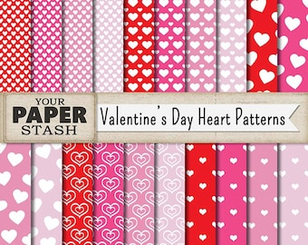 Heart Digital Paper, Valentine's Day Digital Paper, Heart Scrapbook Paper, Pink Hearts, Red Hearts, Scrapbooking Paper, Commercial Use