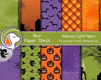 Textured Halloween Digital Scrapbook Paper, Walking Dead & Witch Backgrounds, Halloween Planner Paper Supplies Commercial Use Download