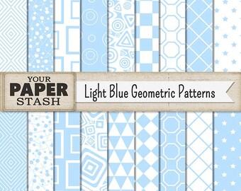 Geometric Patterns, Geometric Digital Paper, Blue Stars, Blue Diamonds, Blue Checker, Blue Circles, Baby Boy, Scrapbook Paper, Digital