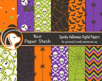 Halloween Digital Scrapbook Paper, Spooky Ghost Spiders Cemetery Web Skull Backgrounds Small Commercial Use Digital Download / HAL101