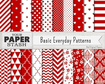 Red Digital Papers, Red Stripe Chevron Stars Heart Damask Polka Dot Digital Scrapbook Paper Backgrounds, Valentine's Day, Wedding, Download