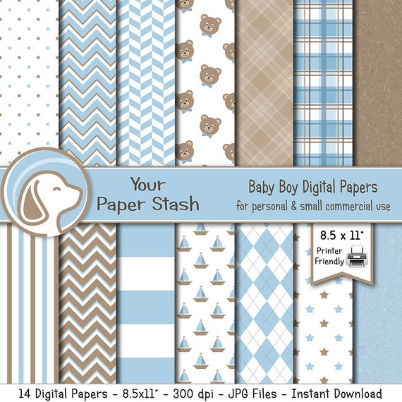 Baby Blue Digital Paper Pack With Teddy Bear Plaid Patterns Printable Baby Boy Scrapbook Papers Download Gender Reveal Party Paper