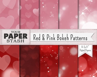Valentine's Day Digital Paper, 8.5x11 Red & Pink Bokeh Patterns and Backgrounds, Planner Paper, Stationery, Printable, Instant Download