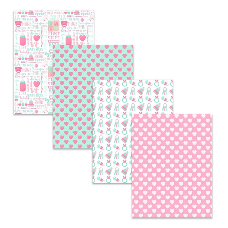 It/'s A Girl Stationery for Baby Shower Gender Reveal Parties Pink Ribbon Rattle Diaper  D101 Printable Baby Girl Digital Paper Pack