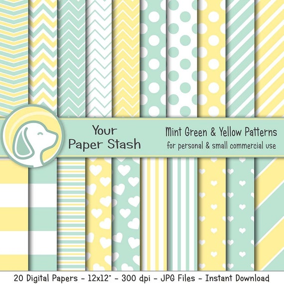 Mint Green Yellow Digital Scrapbook Papers With Stripes Etsy
