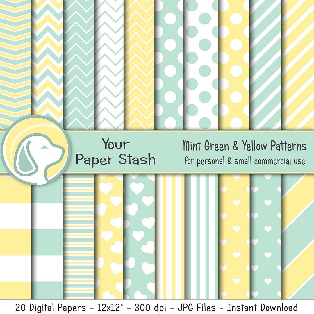 12x12 Mint Stitched Stripe Paper
