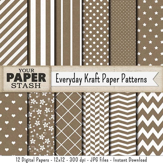 Brown Kraft Digital Paper Pack Kraft Paper Texture Etsy
