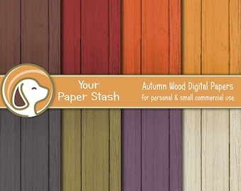Wood Digital Paper Pack, Warm Autumn Colored Backgrounds, Rustic Scrapbook Papers, Thanksgiving Papers