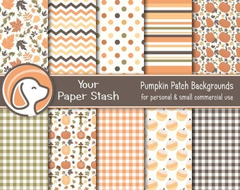Autumn Digital Scrapbook Papers For Thanksgiving & Halloween With Scarecrows Pumpkins Leaves and Gingham Patterns
