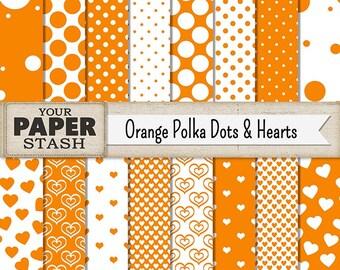 Polka Dot Digital Paper, Orange Polka Dot Heart Halloween Digital Scrapbook Paper Backgrounds, Summer Vacation Scrapbooking, Download, Print