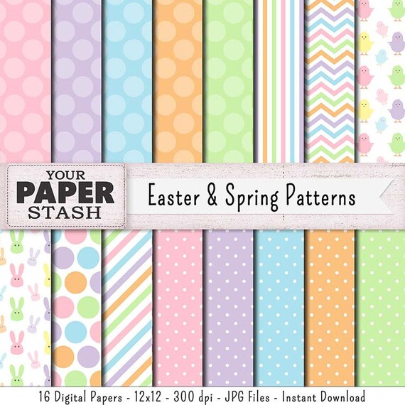Easter Digital Papers Spring Pastel Scrapbook Paper Easter Etsy
