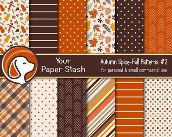 Warm Autumn Digital Papers, Fall Scrapbook Papers, Thanksgiving Backgrounds, Autumn Leaves Digital Paper, Halloween Designs / PS102