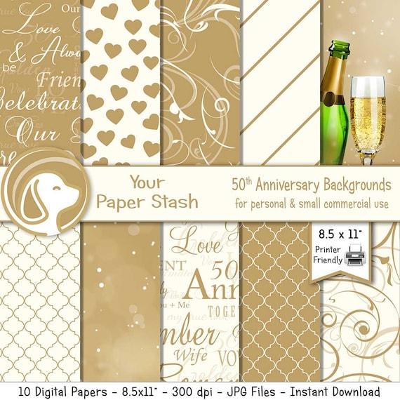 50th Golden Wedding Anniversary Digital Scrapbook Paper Pack Etsy