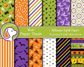 Fun Halloween Digital Paper Pack with Haunted Houses Pumpkins Bats & Ghosts, Halloween Scrapbook Pages, Commercial Use Download / HAL101