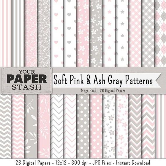 Rosa y gris Digital Scrapbook papel raya Polk puntos | Etsy