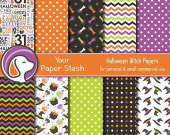 Halloween Digital Paper Backgrounds, Witch Potion & Cauldron Digital Scrapbooking Papers, Halloween Patterns and Designs, Download