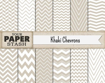 Neutral Chevron Digital Paper, Khaki Scrapbook Paper, Tan Zig Zag Background, Weddings, Masculine, Father's Day, Anniversary, Commercial Use