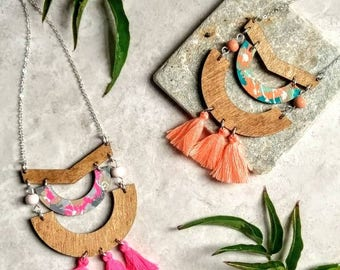 Pink Arch Tassel Necklace ~ Geometric Necklace for her~ Natural Wood Necklace ~ Bohohemian Jewellery Necklace ~ Jewellery Gifts Under 25