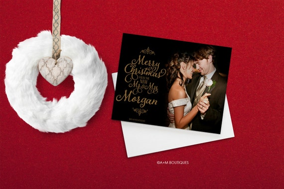 Holiday Photo Cards Merry Christmas From The New Mr And Mrs