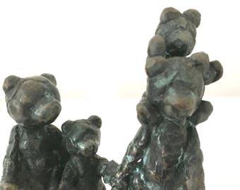 "Family of bronze  ""Teddy"" bears  with black patina and flamed green. lost wax,one of a kind"