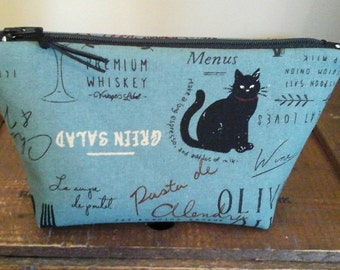 Linen pouch with kitchen and black cat theme