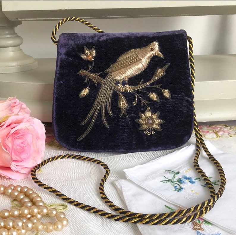 68f73a190aa637 Vintage Evening Bag Embroidered Evening Bag Golden Bird   Etsy