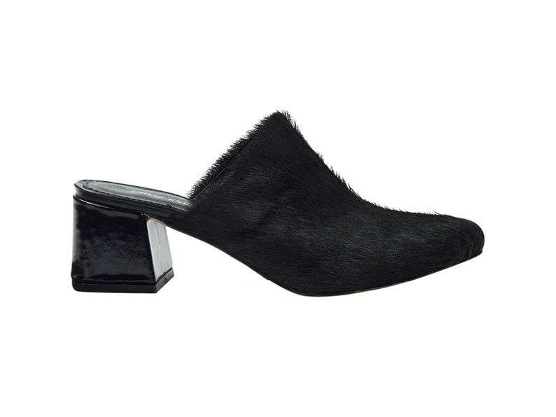 Handmade high quality hairy leather heel mule shoes