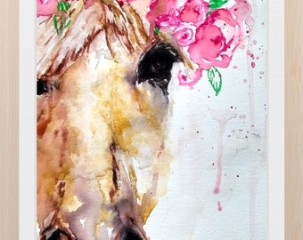 aeeec9e8b182 Horse Printable of Original Watercolor Painting, Horse with Crown of  Flowers, Roses, Home, Contemporary Abstract Art Prints, Popular Item