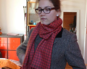 Wool and hand woven silk scarf