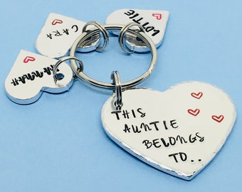 Personalised Auntie Gift This Belongs To Keyring Hand Stamped For Aunt Birthday Sister