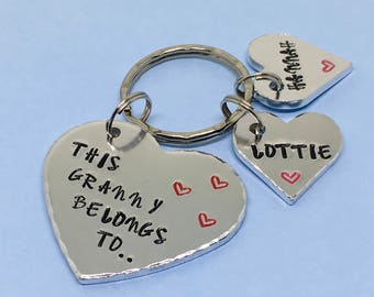 This Granny Belongs to Keyring, Personalised Nanny Gift, Hand Stamped Keychain, Grandma Birthday Gift, Mothers Day Gift, Nanny, Granny, Gran