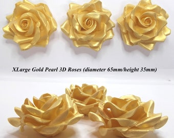 Large Light Gold Pearl 3D Sugar Roses golden wedding cake decorations NONWIRED