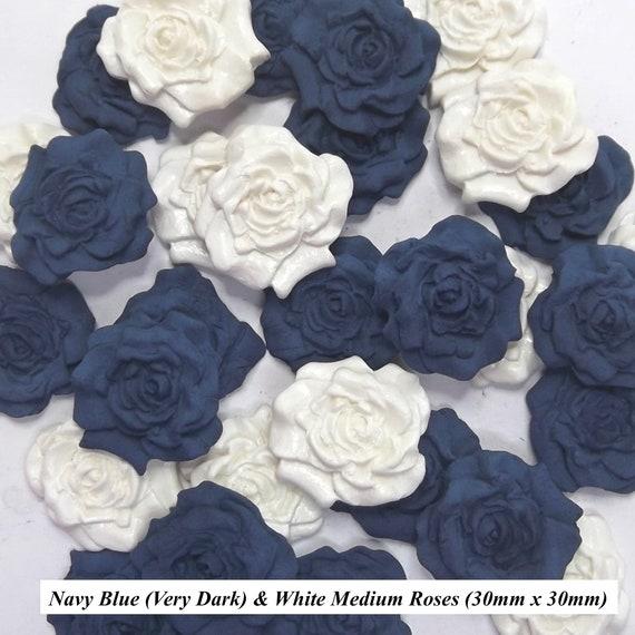 12 Dark Blue Cream Sugar Roses edible sugarpaste flowers wedding cake decoration
