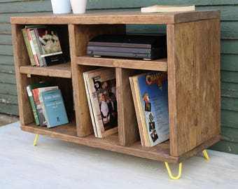 Modern Industrial Sideboard Record Player Unit Bookshelf Cabinet