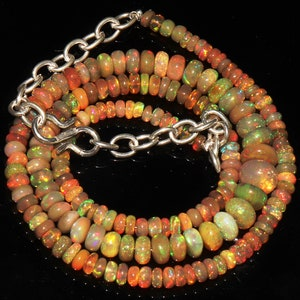 Natural Multi Fire Ethiopian Opal Cabochon roundel Beads Rare Fire opal Smooth Beaded Necklace Opal Gemstone Jewelry 2x2 To 5x3 MM 37.20 Cts