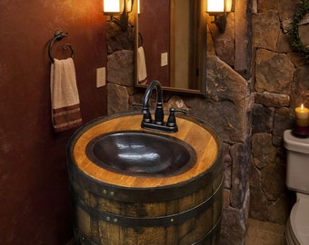 Whiskey Barrel Sink Darker Finish Copper Vessel Sink