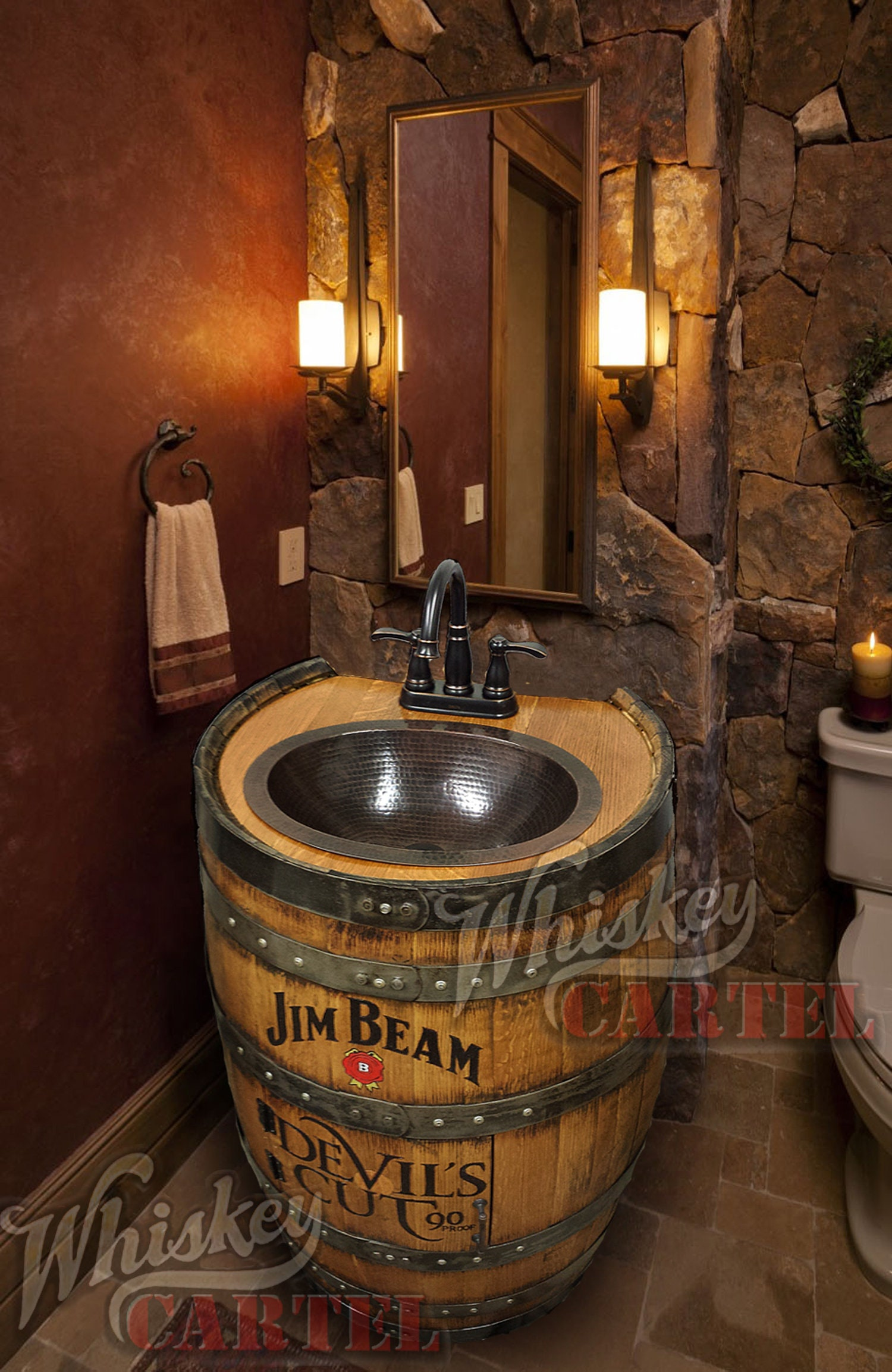Whiskey Barrel Sink Hammered Copper Rustic Antique Bathroom Bar Man Cave Vanity Wine Oak Barrel Vanity Bourbon Custom Personalized