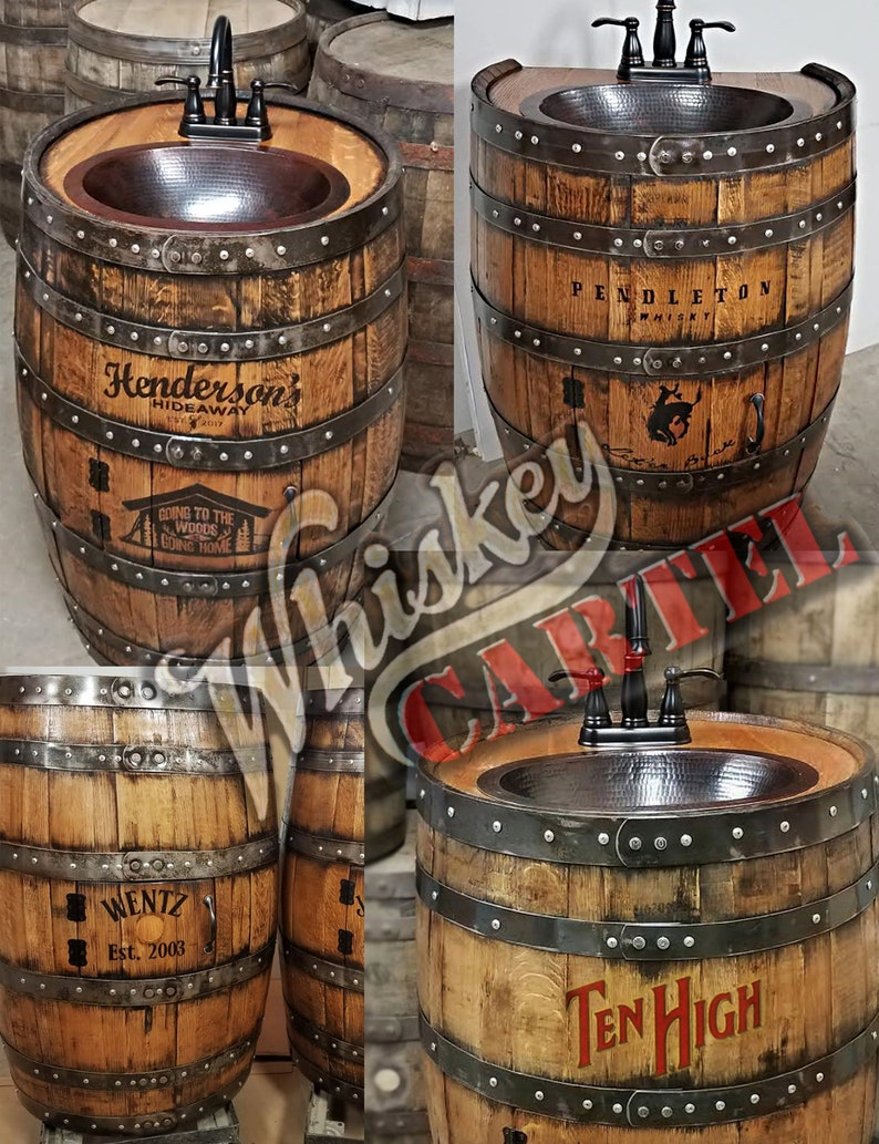 Whiskey Barrel Sink Hammered Copper Rustic Antique Bathroom Etsy